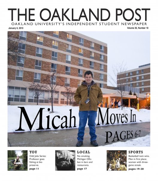 Oakland Post Cover: Micah Move's In. Jan, 2010
